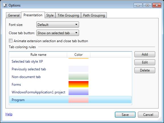 Style - Tabs Studio (Visual Studio extension)